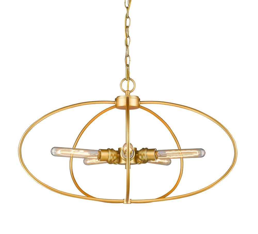 Filament Design 5-Light Satin Gold Pendant - 28.25 inch