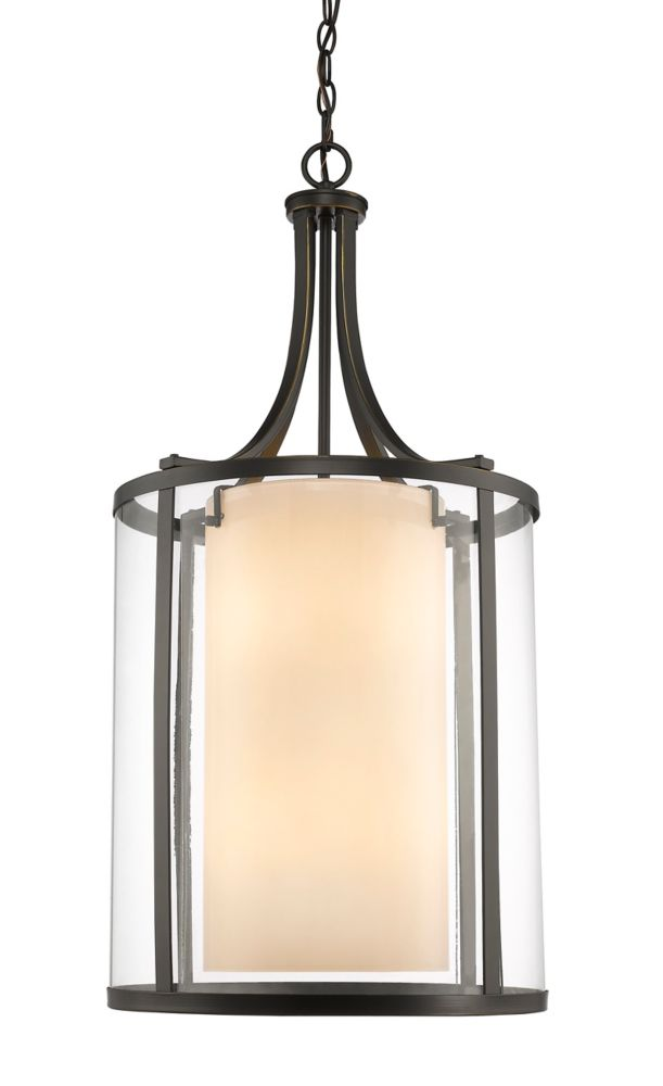 Filament Design 8-Light Olde Bronze Pendant with Clear and Matte Opal Glass - 16 inch
