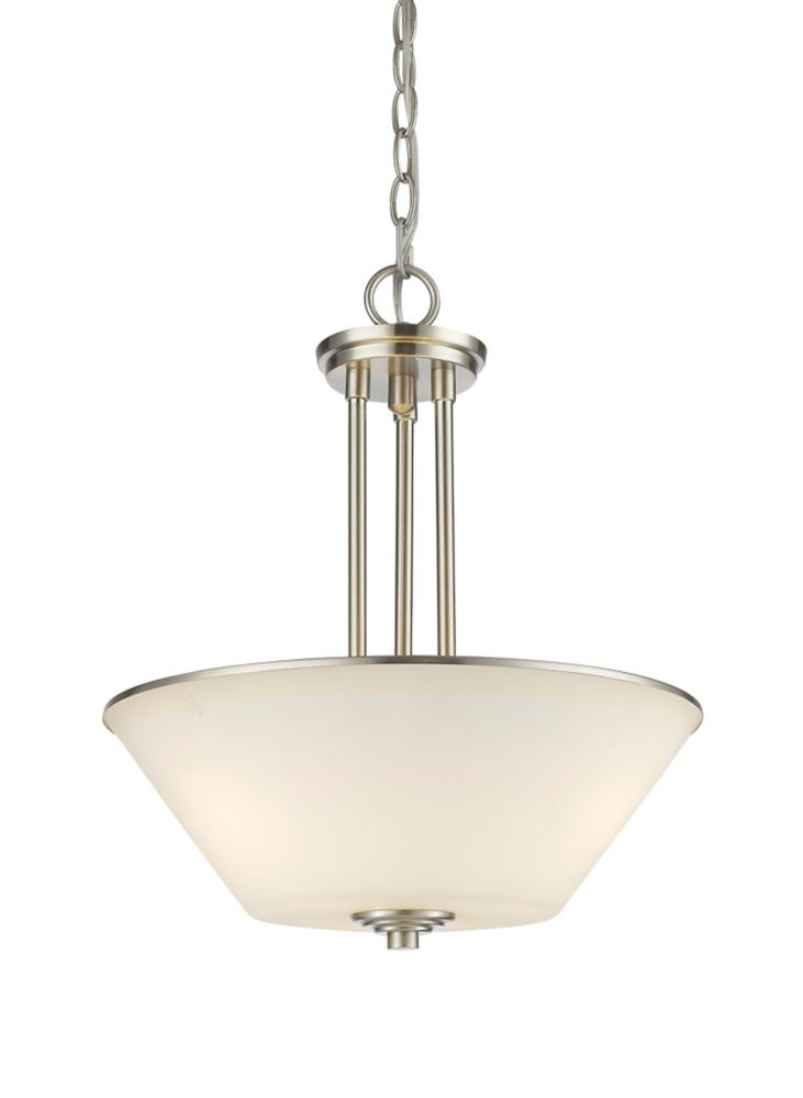 Filament Design 3-Light Brushed Nickel Pendant with Matte Opal Glass - 15 inch