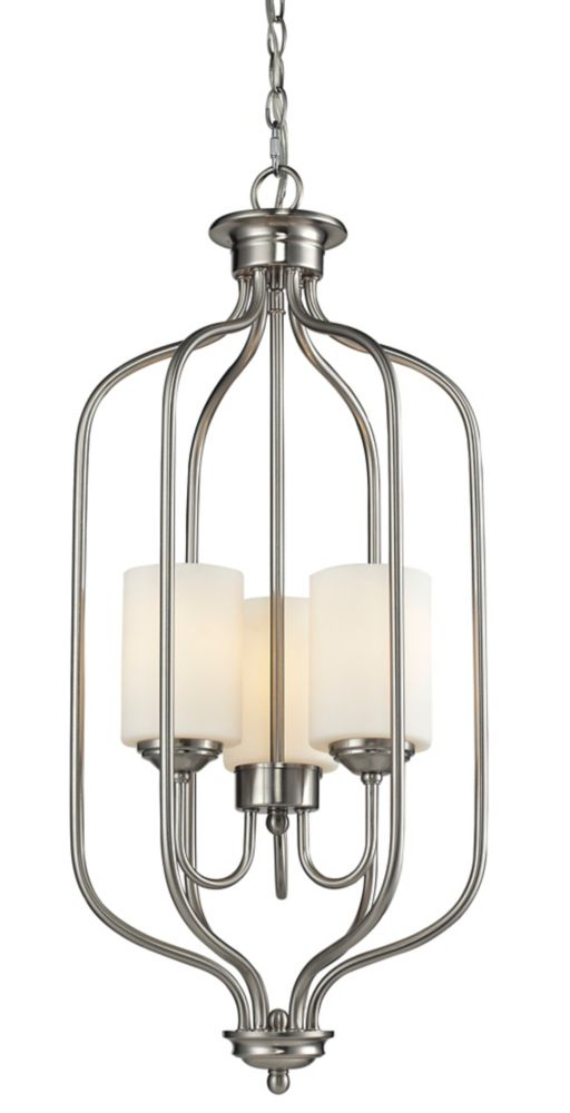 Filament Design 3-Light Brushed Nickel Pendant with Matte Opal Glass - 13.5 inch