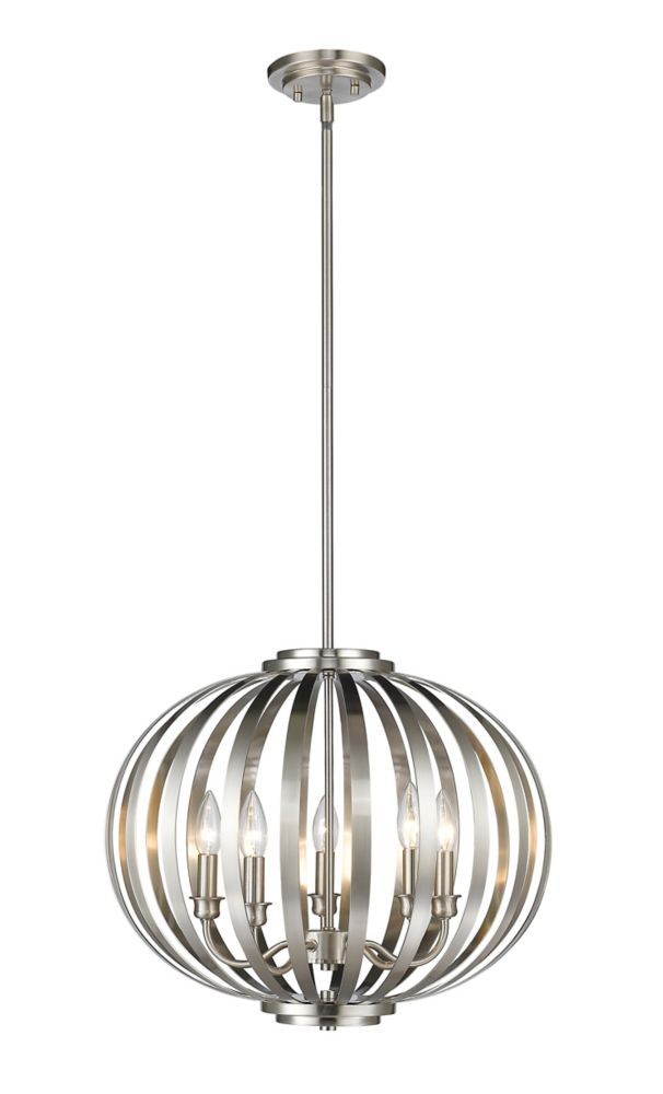 5-Light Brushed Nickel Pendant