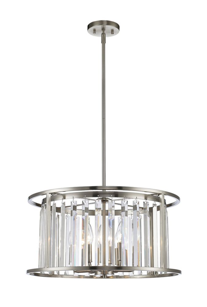 Filament Design 6-Light Brushed Nickel Pendant with Clear Crystal Accents - 22 inch