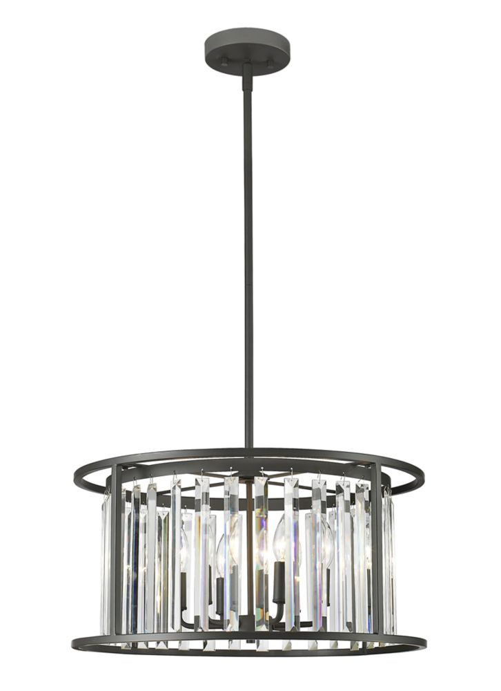 Filament Design 6-Light Bronze Pendant with Clear Crystal Accents - 22 inch