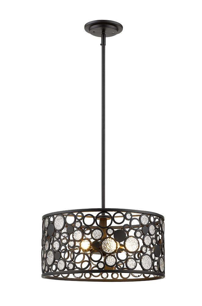 5-Light Bronze Pendant with Bronze Steel Shade - 16 inch