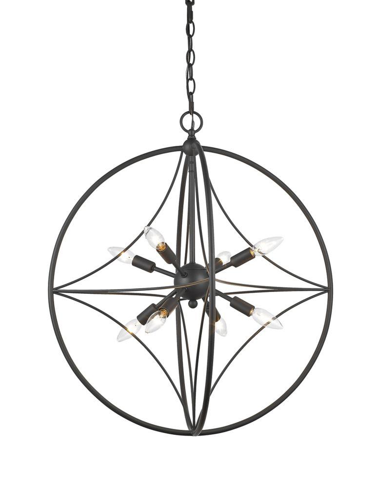 Filament Design Luminaire suspendu à 8 ampoules et abat-jour en acier bronze - 24 pouces
