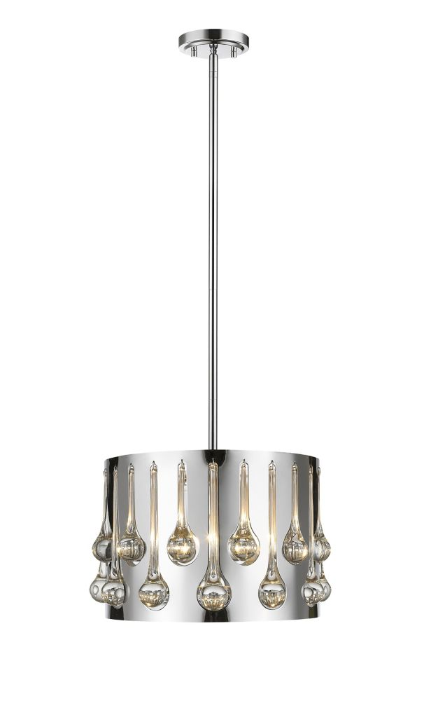 Filament Design 3-Light Chrome Pendant with Chrome and Crystal and Steel Shade - 12.5 inch