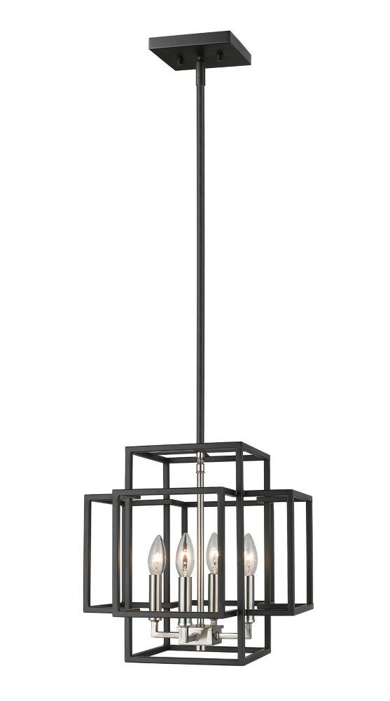 Filament Design 4-Light Black and Brushed Nickel Pendant - 14 inch
