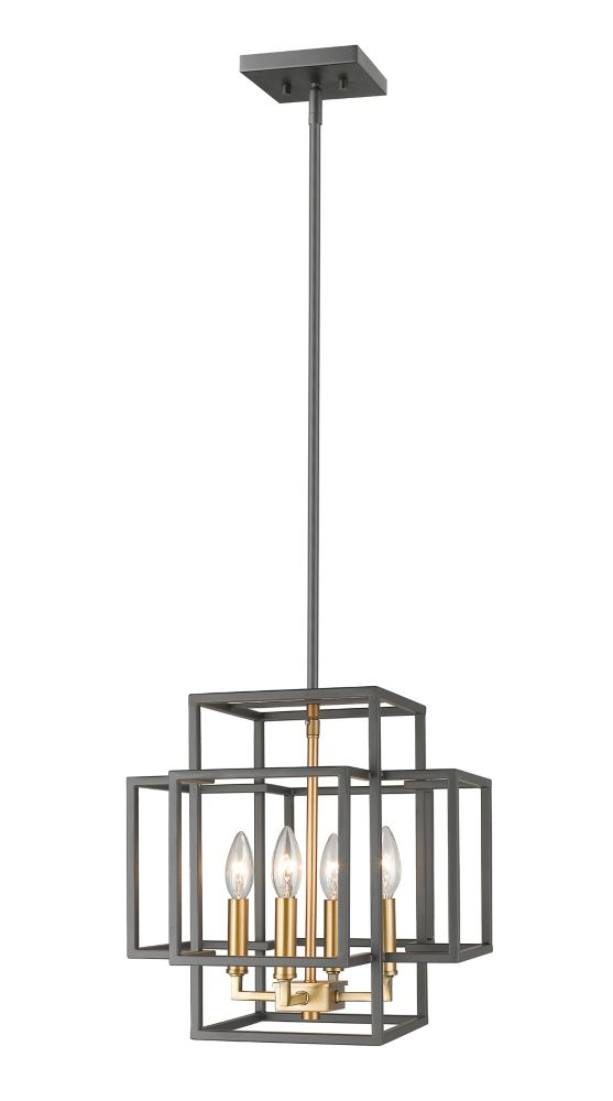 Filament Design 4-Light Bronze and Olde Brass Pendant - 14 inch