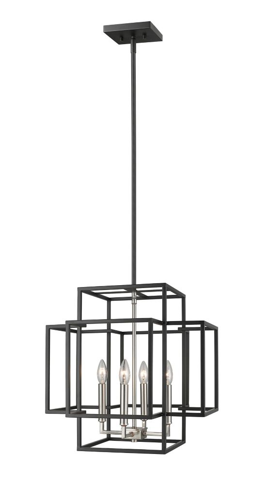 Filament Design 4-Light Black and Brushed Nickel Pendant - 18 inch