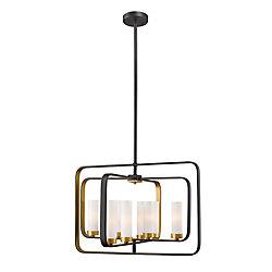 Filament Design Pendant à 8 lumières en bronze doré avec verre opale mat - 21 pouces