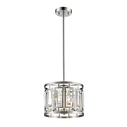 Filament Design 3-Light Brushed Nickel Pendant with Clear Crystal Accents - 12 inch