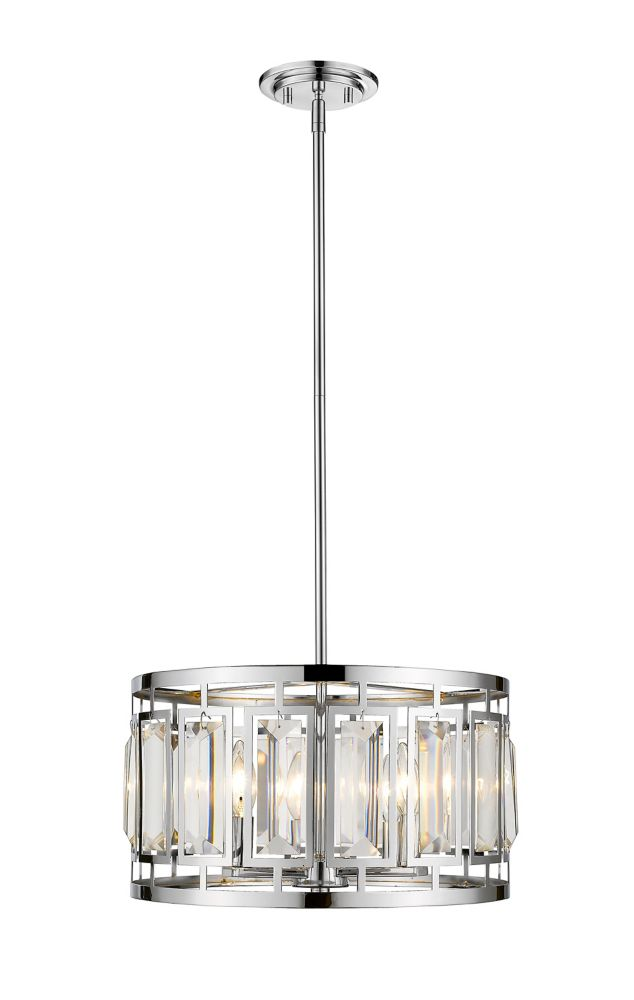 4-Light Chrome Pendant with Clear and Chrome Crystal and Steel Shade - 15.25 inch