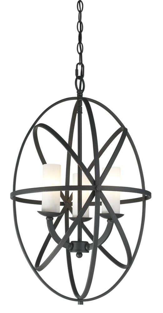 Filament Design 3-Light Bronze Pendant with Matte Opal Glass - 16 inch