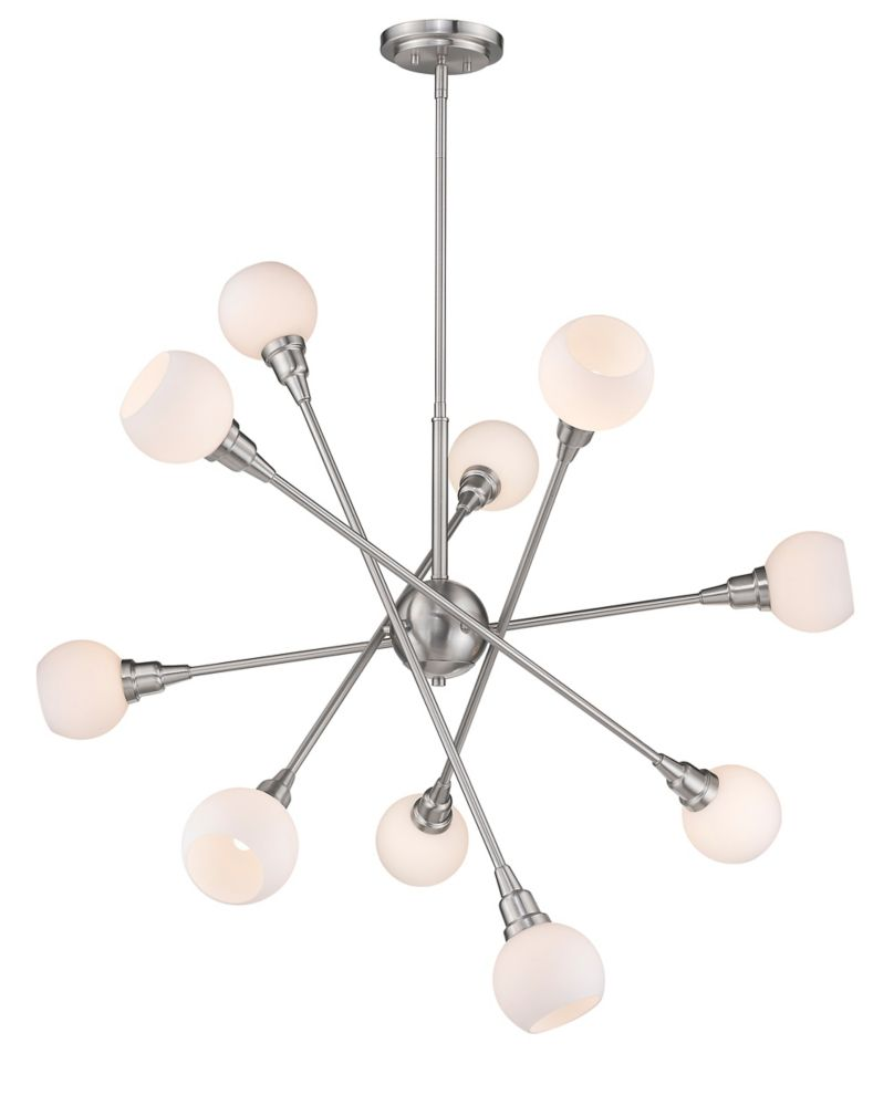 Filament Design 10-Light Brushed Nickel Pendant with Matte Opal Glass - 39.25 inch