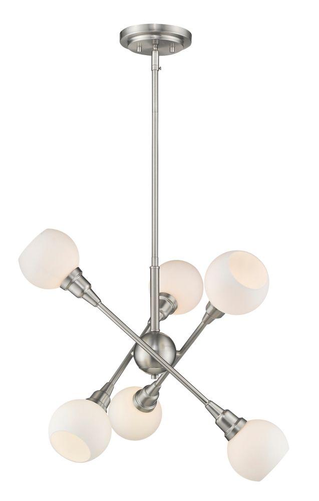 Filament Design 6-Light LED Brushed Nickel Pendant with Matte Opal Glass - 26.25 inch