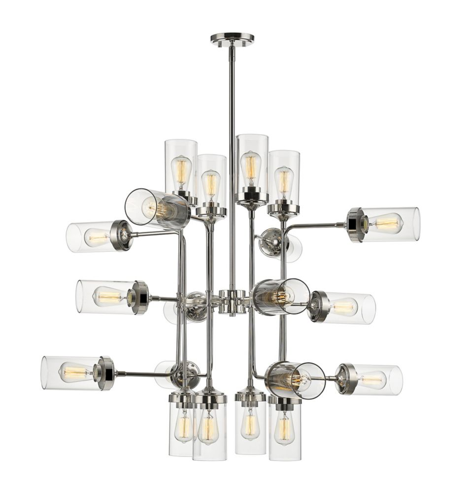 Filament Design 20-Light Polished Nickel Pendant with Clear Glass - 42 inch