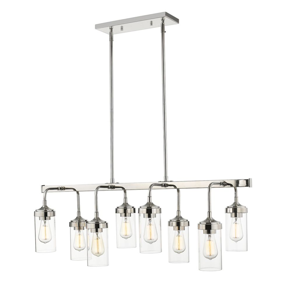 8-Light Polished Nickel Pendant with Clear Glass - 14 inch