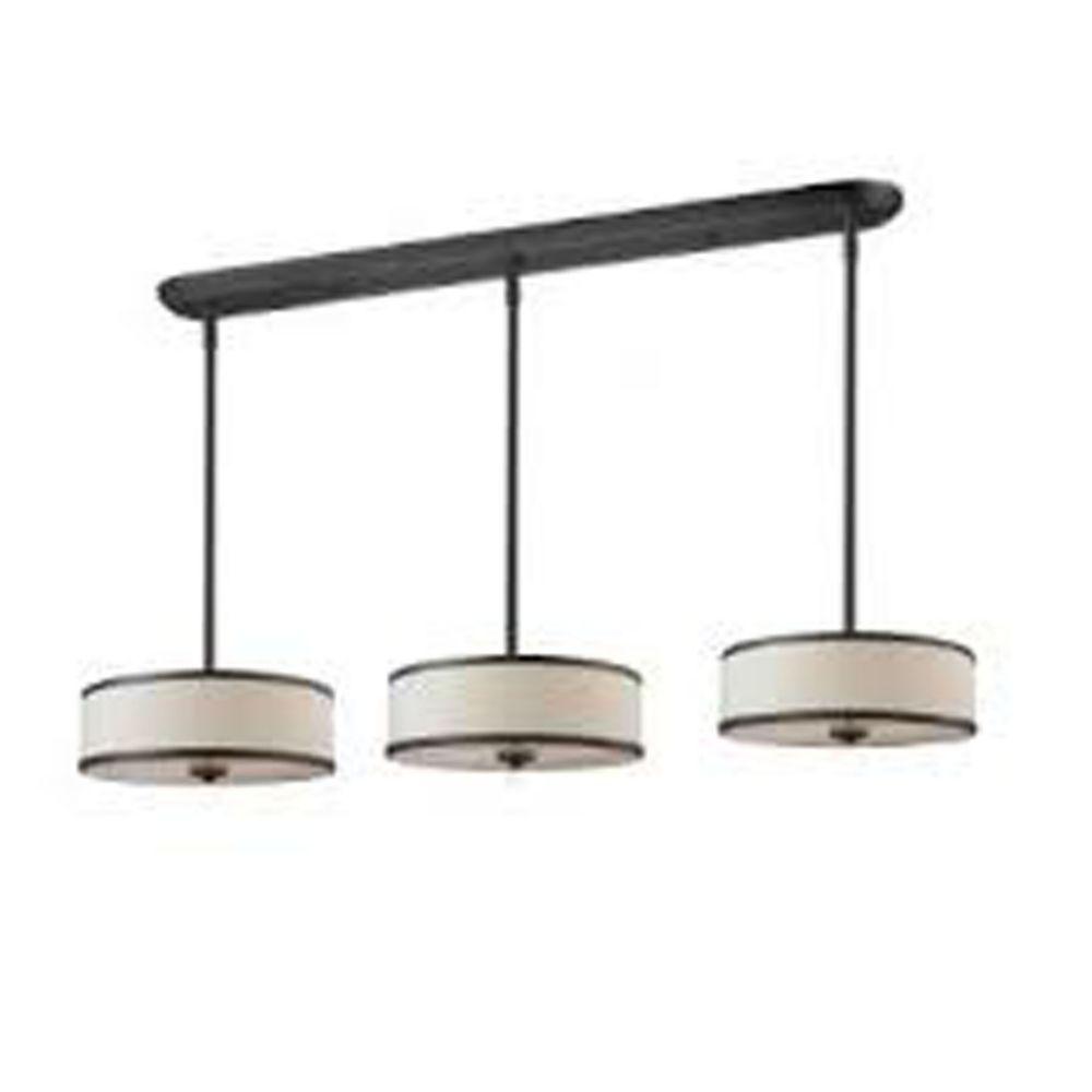 Filament Design 3-Light Factory Bronze Pendant with Crème Linen Fabric Shade - 15.63 inch