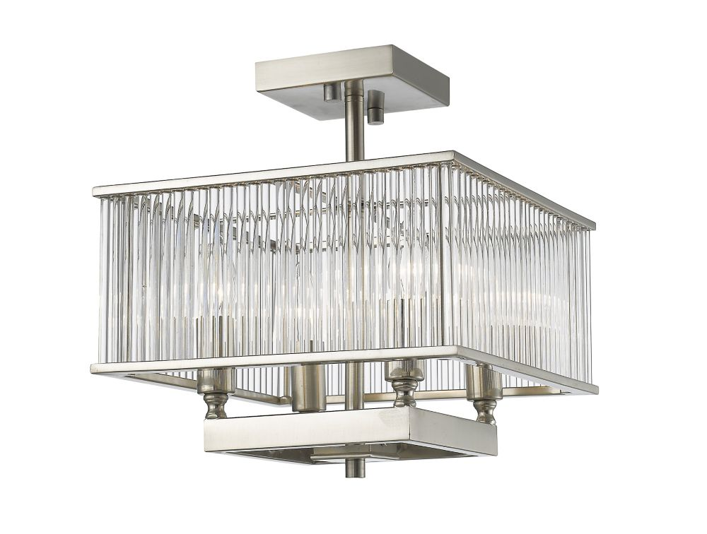 Filament Design 4-Light Brushed Nickel Semi Flush Mount with Clear Glass - 12 inch