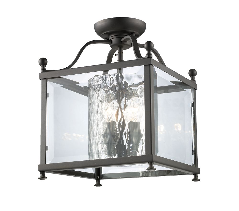 Filament Design 3-Light Bronze Semi Flush Mount with Clear Beveled and Clear Hammered Glass - 11 inch