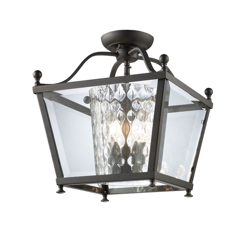 Filament Design 3-Light Bronze Semi Flush Mount with Clear Beveled and Clear Hammered Glass - 12.25 inch