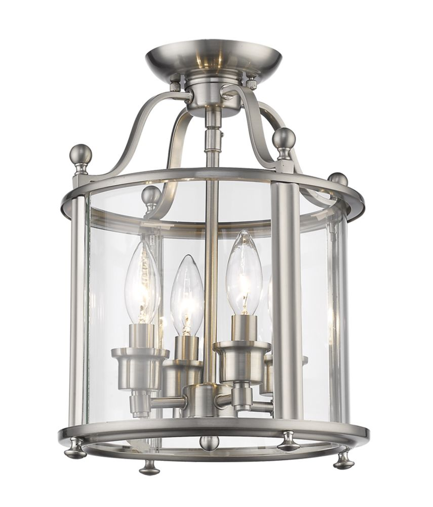 Filament Design 4-Light Brushed Nickel Semi Flush Mount with Clear Glass - 11 inch