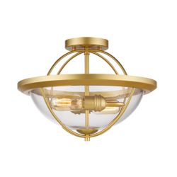 Filament Design 2-Light Satin Gold Semi Flush Mount with Clear Glass - 15 inch