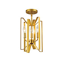 Filament Design 3-Light Polished Metallic Gold Semi Flush Mount - 9 inch