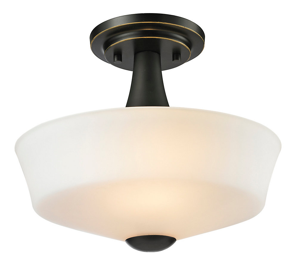2-Light Coppery Bronze Semi Flush Mount with Matte Opal Glass - 12 inch