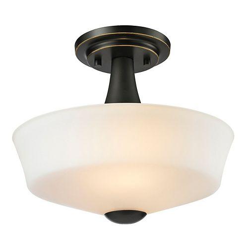 Filament Design 2-Light Coppery Bronze Semi Flush Mount with Matte Opal Glass - 12 inch