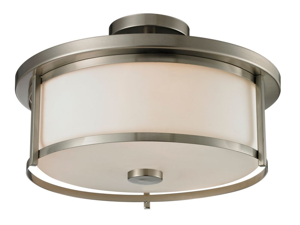 Filament Design 3-Light Brushed Nickel Dimmable Semi Flush Mount with Matte Opal Glass