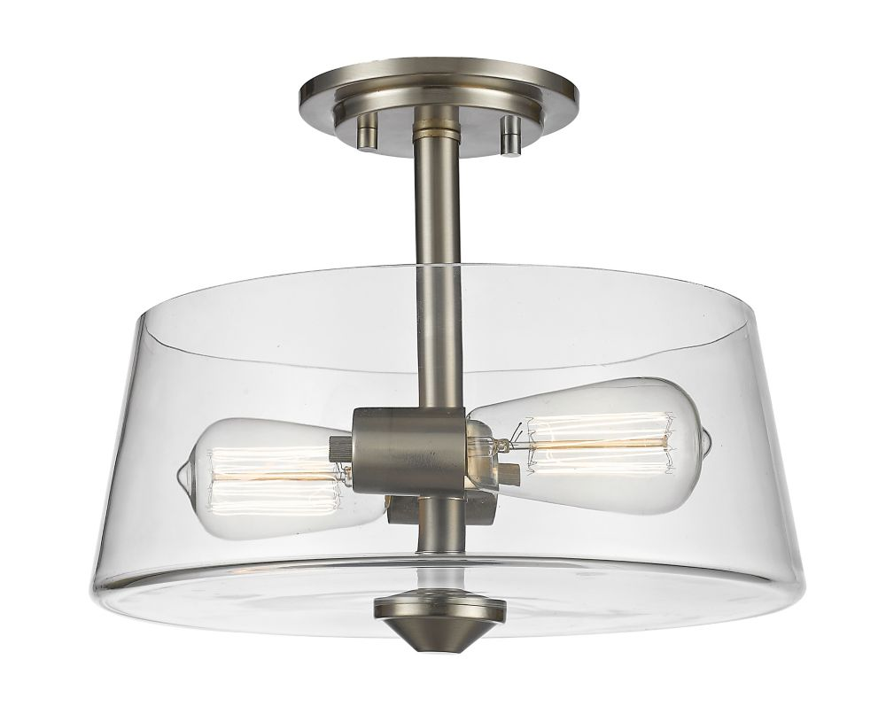Filament Design 2-Light Brushed Nickel Semi Flush Mount with Clear Glass - 12 inch