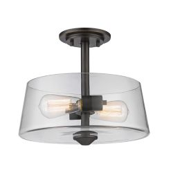 Filament Design 2-Light Olde Bronze Semi Flush Mount with Clear Glass - 12 inch