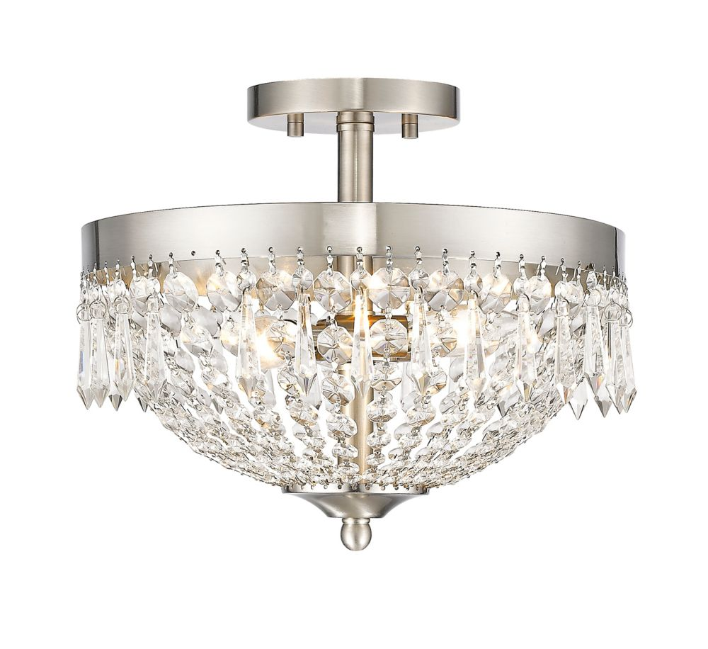 Filament Design 3-Light Brushed Nickel Semi Flush Mount with Clear Crystal Accents - 13 inch