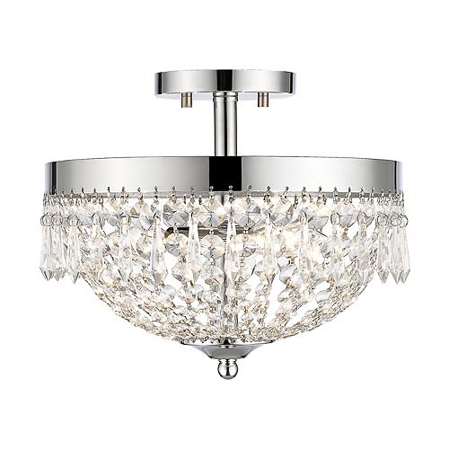 Filament Design 3-Light Chrome Semi Flush Mount with Clear Crystal Accents - 13 inch