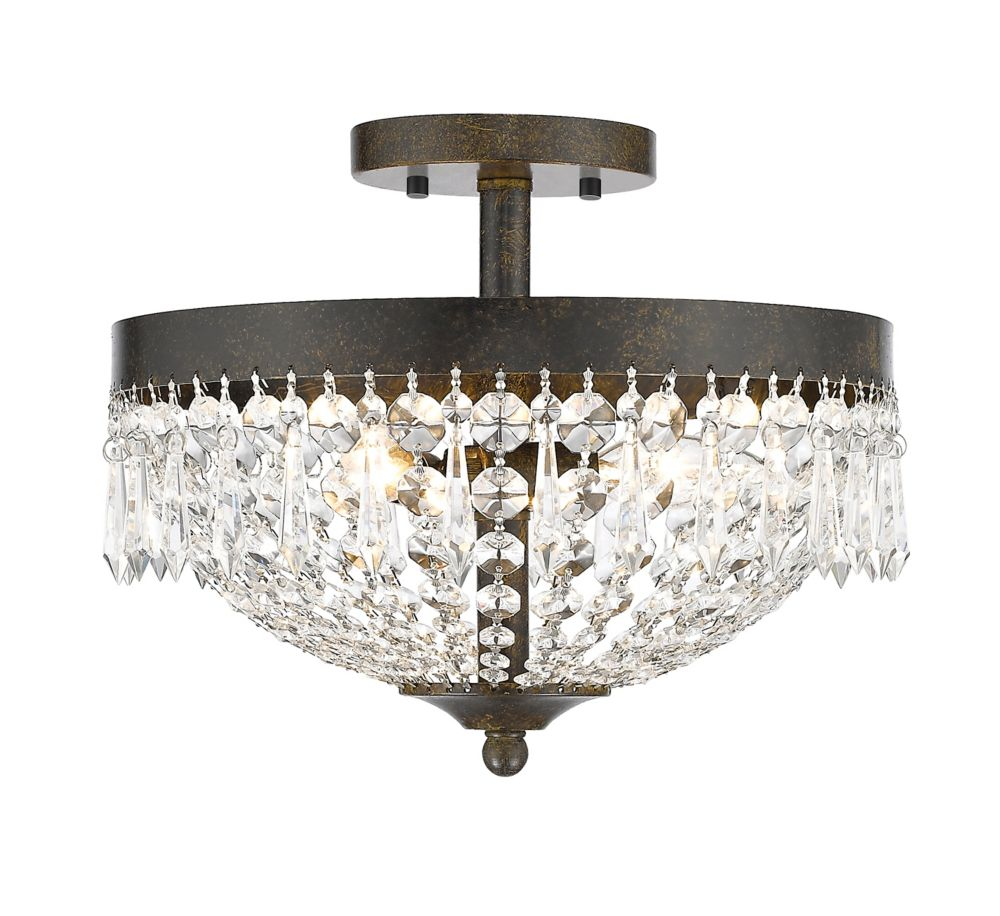 Filament Design 3-Light Golden Bronze Semi Flush Mount with Clear Crystal Accents - 13 inch