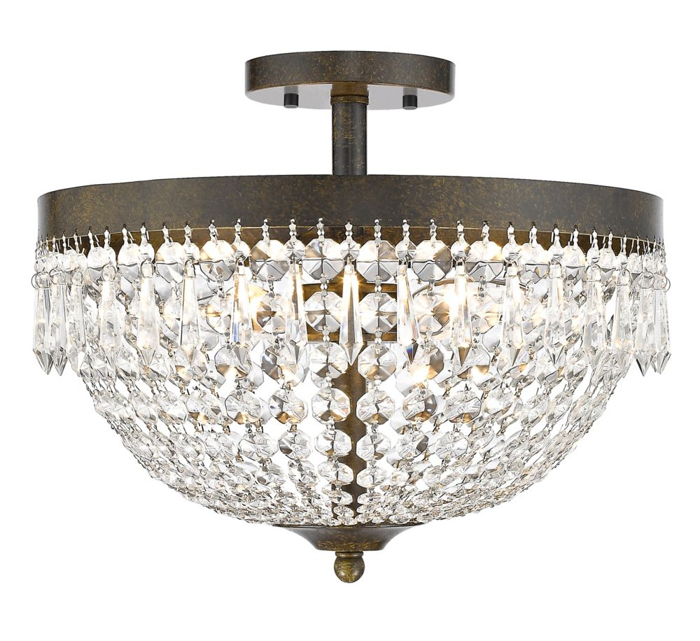 Filament Design 4-Light Golden Bronze Semi Flush Mount with Clear Crystal Accents - 15 inch