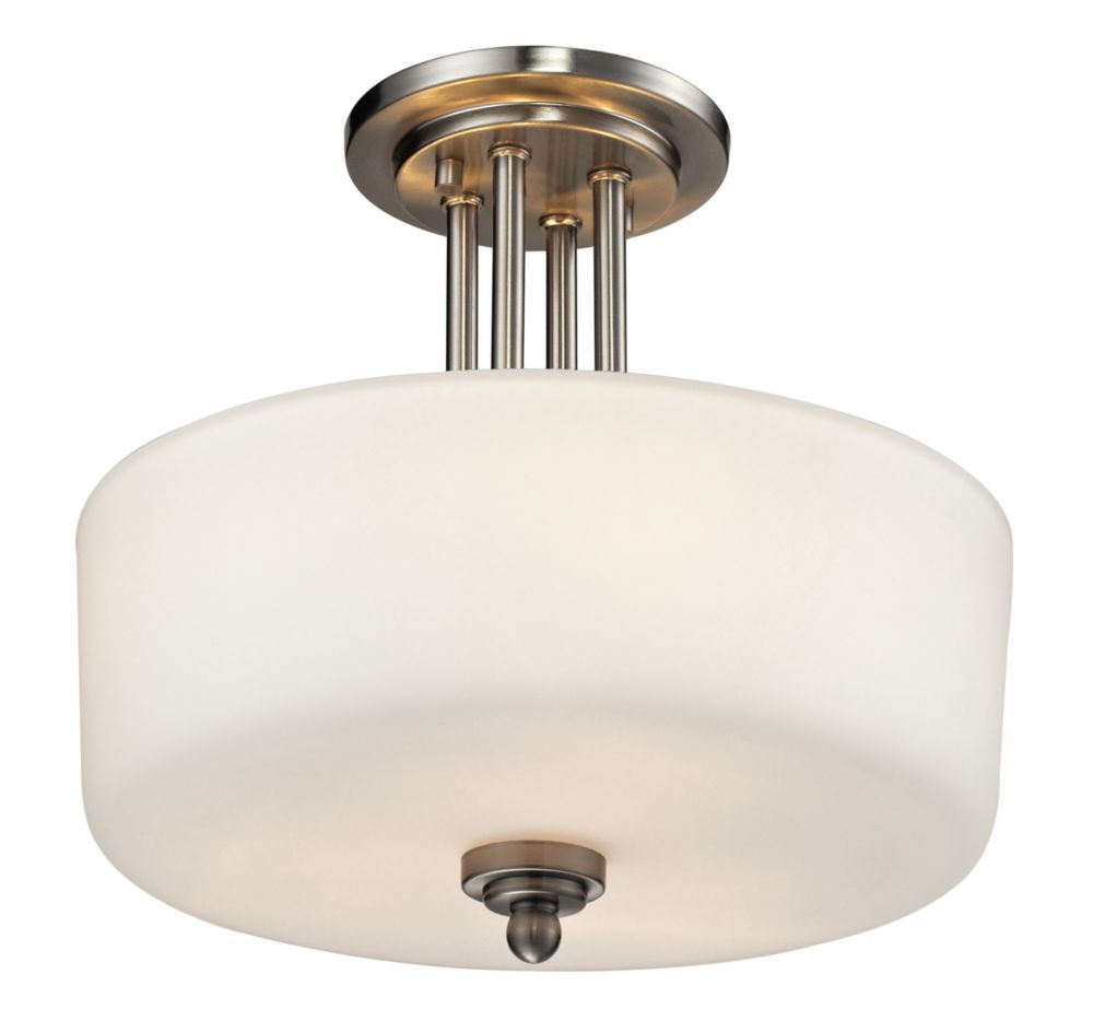 Filament Design 3-Light Brushed Nickel Semi Flush Mount with Matte Opal Glass - 13 inch