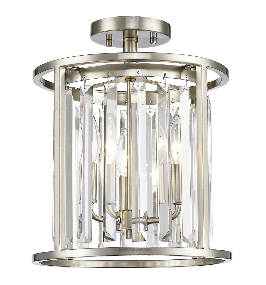 Filament Design 3-Light Brushed Nickel Semi Flush Mount with Clear Crystal Accents - 11.75 inch