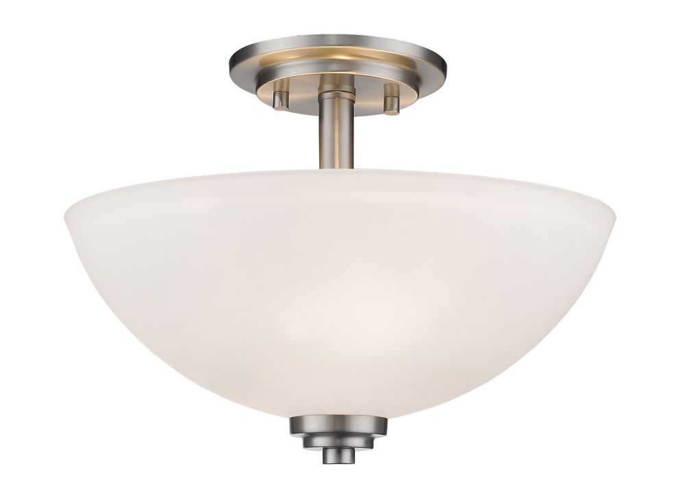 3-Light Brushed Nickel Semi Flush Mount with Matte Opal Glass - 15.75 inch