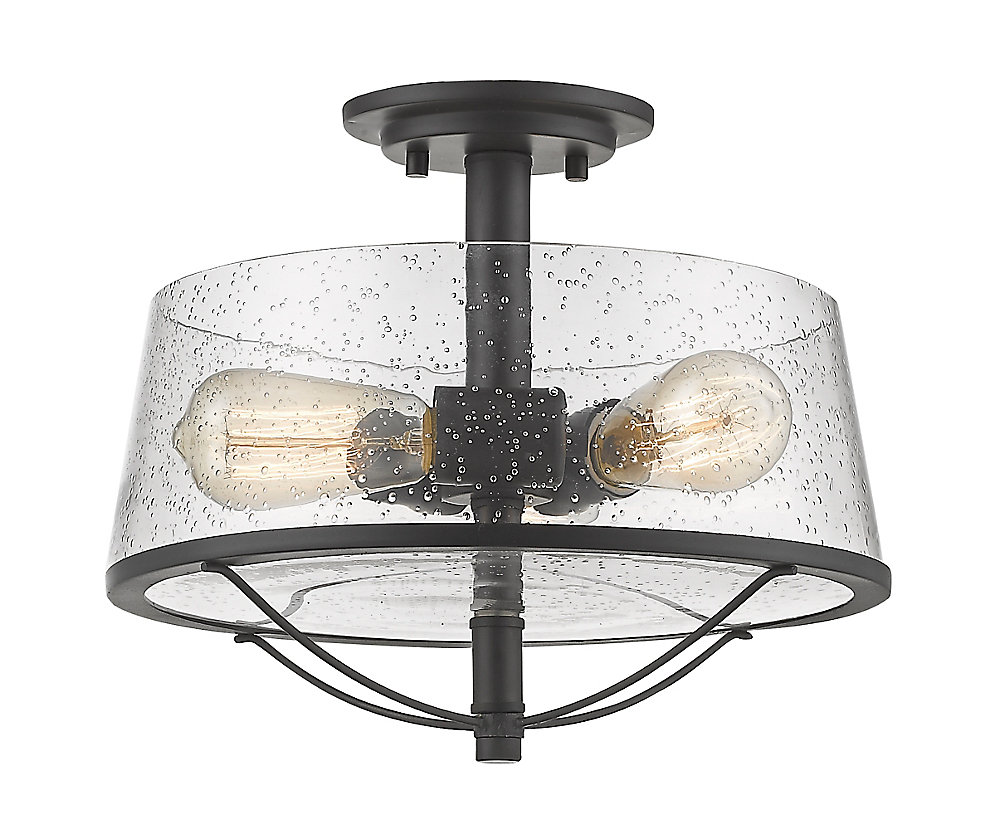 3-Light Bronze Semi Flush Mount with Clear Seedy Glass - 13.375 inch