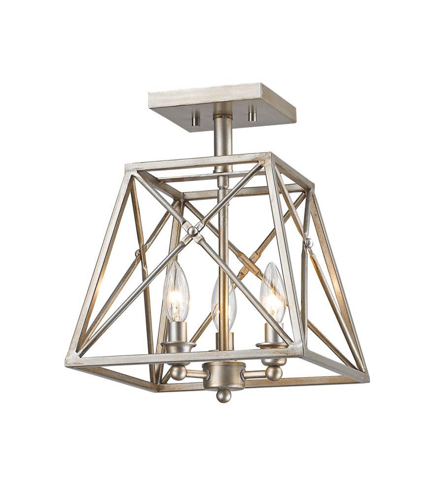 Filament Design 3-Light Antique Silver Semi Flush Mount with Antique Silver Steel Shade - 11 inch