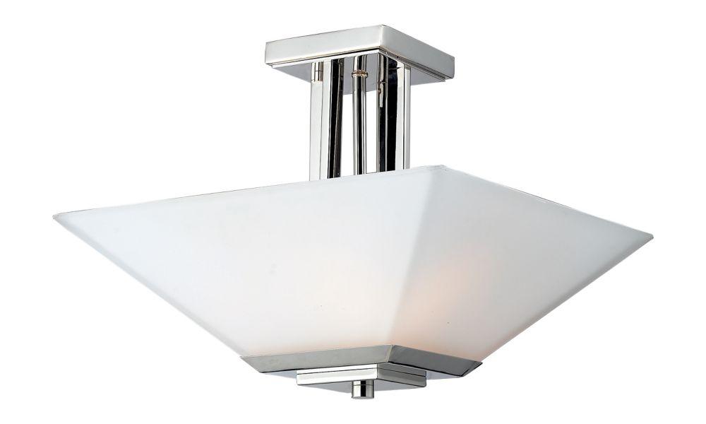 Filament Design 3-Light Chrome Semi-Flush Mount with Matte Opal Glass - 15 inch