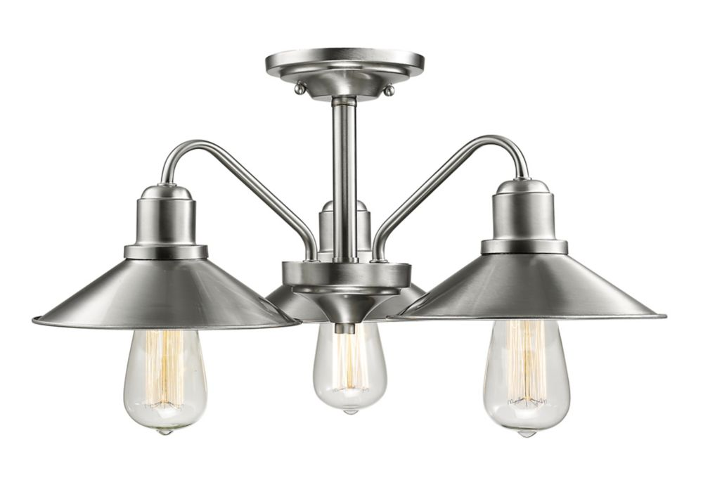Filament Design 3-Light Brushed Nickel Semi Flush Mount with Brushed Nickel Steel Shade - 20 inch