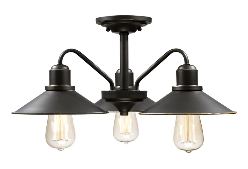 Filament Design 3-Light Olde Bronze Semi Flush Mount with Olde Bronze Steel Shade - 20 inch
