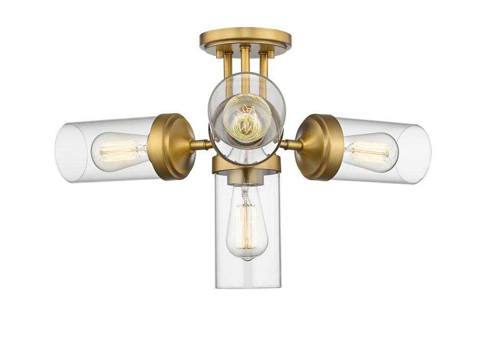 Filament Design 4-Light Foundry Brass Semi Flush Mount with Clear Glass - 22.5 inch