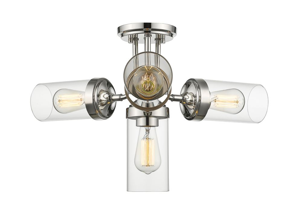 Filament Design 4-Light Polished Nickel Semi Flush Mount with Clear Glass - 22.5 inch