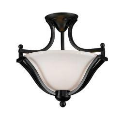 Filament Design 2-Light Bronze Semi Flush Mount with Matte Opal Glass - 15 inch
