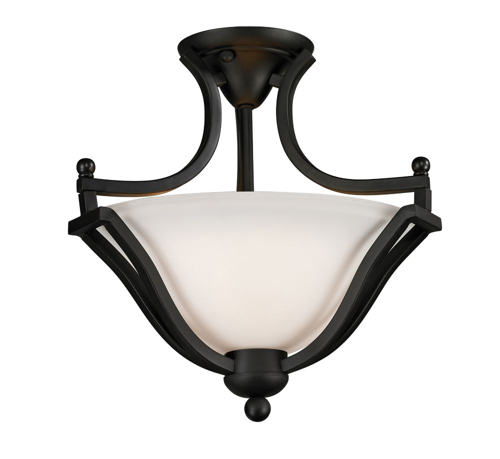 Filament Design 2-Light Matte Black Semi Flush Mount with Matte Opal Glass - 15 inch
