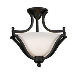 Filament Design Plafonnier semi-affleurant à 2 ampoules, noir mat, avec verre opale mat